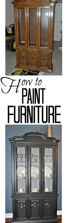 How to Paint Furniture.  Valspar's Lincoln Cottage Black on the outside and Glidden's Granite Grey on the inside.  I used the grey on the inside for contrast.  I didn't want the hutch to turn into a giant black hole.