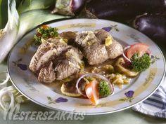 Padlizsánnal töltött borjúszelet recept Pork, Beef, Dishes, Pork Roulade, Plate, Pigs, Tablewares, Tableware, Cutlery