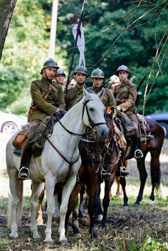 Polish cavalry of WWII reconstruction group, Modlin fortress, Poland
