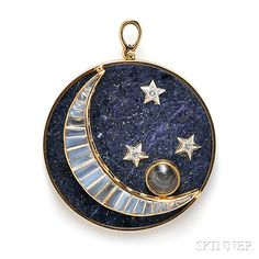 18kt Gold, Lapis, Moonstone, and Diamond Pendant/Brooch, the circular lapis tablet with buff-top moonstone crescent moon and diamond melee stars, with a compartment purportedly containing moon dust, dia. 2 in., the bezel no. 325M/118437.