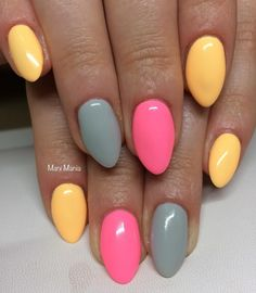 #instanails #neon #mani #mania #manicure #semilac #lovelymickey #tagiatelle #gray #pinkdoll #pinknails #nails #nails #neonnails #paznokcie #legnica #hybryda #hybrydowe #f4f #followme #follow4follow Manicure, Nails, Nail Designs, Neon, Gray, Beauty, Nail Bar, Nail Desings, Grey