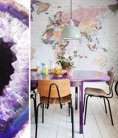 2018 pantone color of the year, pantone color of the year 2018, purple dining table with wood modern chairs, pantone ultra violet, bright purple, dark purple, violet, closeup of purple geode