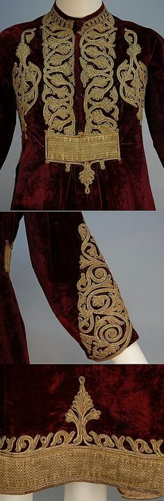 Close-ups of a burgundy velvet dress.  Turkey, early 20th century.  Probably from emigrants from the Causasus.  The bodice, sleeve and hem decorated with heavy metallic gold cord and ribbon.