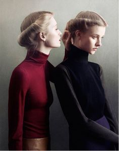 This is a stunning simple fashion photograph - if they were three, they would be modern Three Sisters. By Julie Hetta.