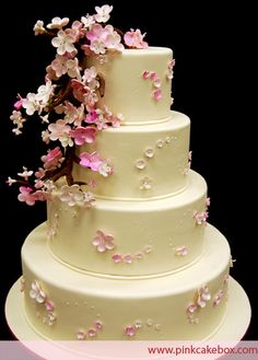 Pink Cherry Blossom Wedding Cake by Pink Cake Box Cherry Blossom Theme, Cherry Blossom Wedding, Cherry Blossoms, Themed Wedding Cakes, Wedding Cake Decorations, Wedding Cupcakes, Beautiful Wedding Cakes, Beautiful Cakes, Spring Wedding