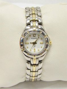 """FOSSIL F2 ES-8873 WOMENS TWO TONE WRIST WATCH BRACELET STYLE BAND RUNNING 7"""" #Fossil"""