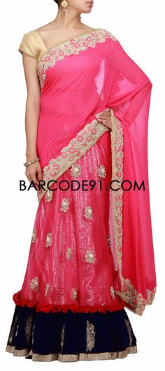 Buy it now  http://www.barcode91.com/a-pink-lehenga-saree-with-velvet-border-and-resham-work-by-barcode-91-exclusive.html  A pink lehenga saree with velvet border and resham work by Barcode 91 Exclusive