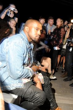 Kanye West Front Row at Alexander Wang  [Photo by Steve Eichner]