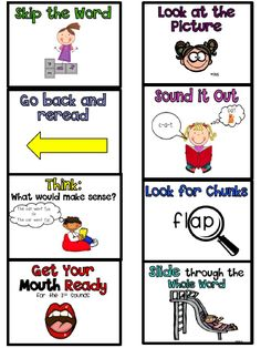 reading strategy posters for first grade | Reading Strategies for decoding words (freebies)