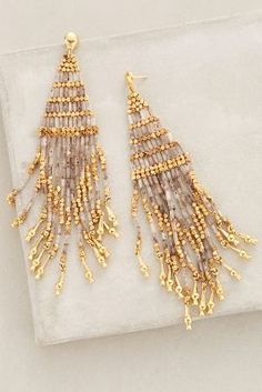 at anthropologie Luminescent Fringe Earrings Diy Jewelry, Beaded Jewelry, Jewelry Accessories, Handmade Jewelry, Fashion Jewelry, Women Jewelry, Jewelry Design, Jewelry Making, Jewellery