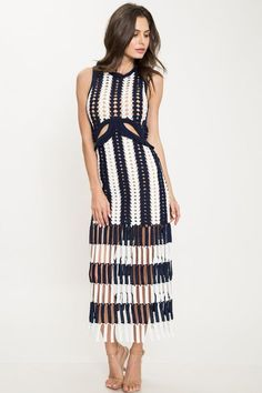 Add some texture to your party look with this elegant crochet dress. Details: Navy and ivory striped midi crochet dress featuring a ruffle trimmed cutout at wa Crochet Bodycon Dresses, Black Crochet Dress, Crochet Blouse, Crochet Poncho, Crochet Tops, Prom Dress Shopping, Online Dress Shopping, Party Looks, Mode Crochet
