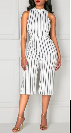 Sleeveless High Neck Stripe Print White Jumpsuit, street style fashion jumpsuit, get more information of this clothing at rosewe.com,  don't miss.