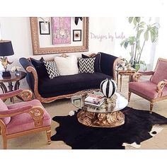 Black, pink and gold never looked better. Designed by @designsbylaila... - Interior Design Ideas, Interior Decor and Designs, Home Design Inspiration, Room Design Ideas, Interior Decorating, Furniture And Accessories