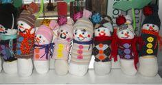socks with snowmen and snowwomen :)