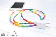 Rainbow #crochet phone cord tutorial from @JBHcrochet