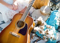 Guitar Beach wedding  End of Summer Bohemian Shoot on the Beach  Magnolia Event Design  Tenley Erin Young
