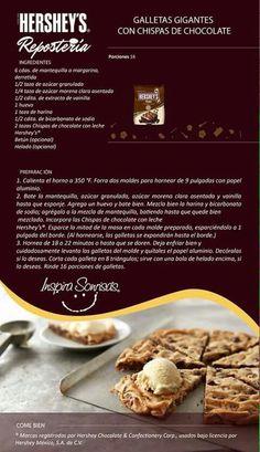 Galletas gigantes Hershey Recipes, Cookie Recipes, Snack Recipes, Dessert Recipes, Snacks, Desserts, Cookie Ideas, Chocolate Pavlova, Macarons Chocolate