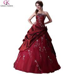 Gracia Karin satén de la gasa de vino rojo vestidos del Quinceanera hinchados baratas de larga bola de mascarada vestidos dulces 16 vestido para el partido 2015 CL2516