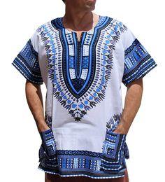a41751bd532fe RaanPahMuang Brand Unisex Bright African White Dashiki Cotton Shirt