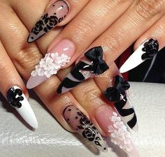 35 New Ideas For Nails Acrylic Stiletto Black Negative Space Glam Nails, Fancy Nails, Bling Nails, 3d Nails, Stiletto Nails, Trendy Nails, Acrylic Nails, Beautiful Nail Designs, Cute Nail Designs