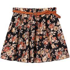 Womens Retro High Waist Pleated Floral Chiffon Sheer Short Mini Skirt... ($7.43) ❤ liked on Polyvore
