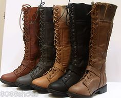 Women's Winter Military Lace Up Low Heel Knee High Boot