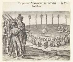 Rituaal om de overwinning te vieren, Theodor de Bry, Johann Theodor de Bry, 1591