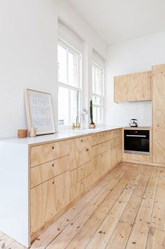 Minimal white and rough wood kitchen interior. Flinders Lane Apartment by Clare Cousins Architects Küchen Design, Wood Design, House Design, Design Ideas, Design Hotel, Design Color, Design Trends, Plywood Interior, Plywood Furniture