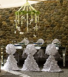 GraceOrmonde luxury tabletops Love the hanging flower arrengement Wedding Chair Decorations, Wedding Chairs, Wedding Table, Bamboo Dining Chairs, Blue Dining Room Chairs, Party Chairs, Party Tables, Ghost Chairs, Chair Sashes