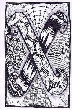 Zentangle, Letter X, Zebra Letters, name, bunting, alphabet