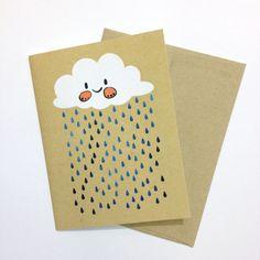 Happy Rain Cloud Greeting Card with Envelope ChristaPiercePaper Etsy Invitation Cards, Invitations, Rain Clouds, Card Envelopes, Blank Cards, Cute Cards, Paint Colors, Paper Art, Card Stock