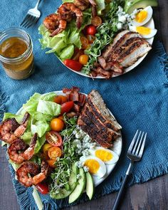 This Blackened Shrimp And Chicken Cobb Salad With Dijon Vinaigrette recipe is featured in the Our Gluten Free Instagram Feed along with many more