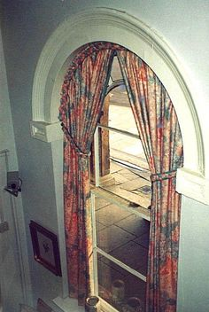 Curved Curtain Rods for Arched Arched Window Treatments, Window Treatments Living Room, Living Room Windows, House Windows, Window Coverings, Curtains For Arched Windows, Dormer Windows, Window Drapes, Drapes Curtains