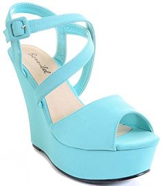 Mint Green Strappy Criss Cross Wedge Platform Sandal >>> Want additional info? Click on the image.