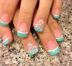 Blue French manicure with design
