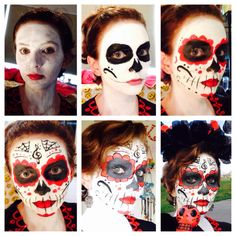 This is my Halloween makeup!! It took me 3 hours to do!! #scary #red #halloween #latin #music #makeup #face #death #sugarskull #black #dead #cosplay #stepbystep #costume #creepy #skeleton #festival #pwgallery #cool #skull #process