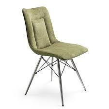 Brendy stoel op spider poot. Hier afgebeeld in Volterra stof groen voorkant en Tatra kunstleer groen achterkant. Ook leverbaar in brique, zwart, antraciet, petrol en groen.
