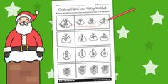 Christmas Themed Capital Letter Matching Worksheet - worksheets - Twinkl