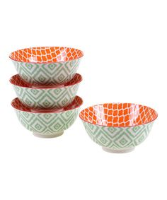 Another great find on #zulily! Green Ikat 6.25'' Bowl - Set of Four #zulilyfinds