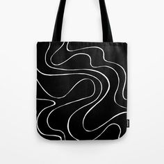 Ebb and Flow 2 - Black on White Tote Bag by laec | Society6