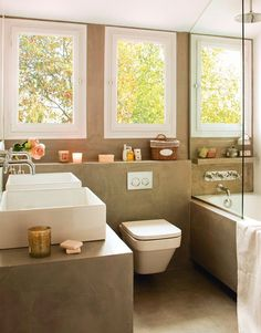 Microcemento bathroom with double sinks Cement Bathroom, Double Sink Bathroom, Kitchen And Bath, Double Sinks, Bath Or Shower, Shower Time, Cruise Europe, Home Living, Bathroom Inspiration
