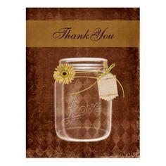 sunflower rustic mason jar wedding thank you postcard