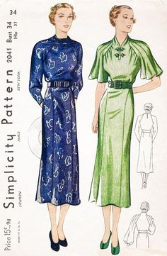1930s 30s dress Simplicity 2041 vintage sewing pattern 3 styles art deco seam detail yoke sleeves bust 34 reproduction