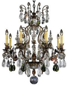 Schonbek Renaissance Rock Crystal Chandelier in Heirloom Bronze Renaissance, Faceted Crystal, Clear Crystal, Rock Lamp, Schonbek Lighting, Bronze, Antique Pewter, Chandelier Lighting, Crystal Chandeliers
