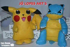 Pikachu e Blastoise em feltro