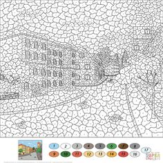 Old Town Street Color by Number | Super Coloring