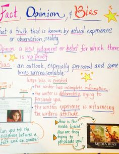 Fact, opinion and Bias anchor chart