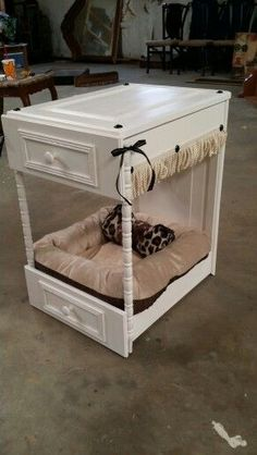 Dog/cat bed that I made from two dresser drawers and 2 cabinet doors. I painted it added some fringe and ribbon. Bed With Drawers, Dresser Drawers, Dresser Ideas, Dog Furniture, Repurposed Furniture, Diy Dog Bed, Pet Beds, Doggie Beds, Dog Rooms
