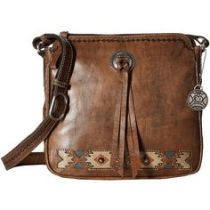 American West Native Sun Crossbody (Distressed Charcoal... ($178) ❤ liked on Polyvore featuring bags, handbags, shoulder bags, hand bags, purses crossbody, brown crossbody, purse pouch and purse shoulder bag