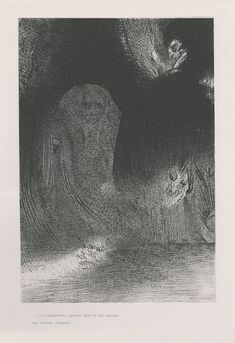 I have sometimes seen in the sky what seemed like forms of spirits (plate 21 from The Temptation of Saint Anthony series) - Odilon Redon